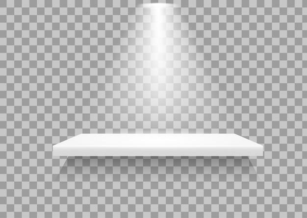 Lege schappen er is een licht dat naar beneden schijnt om aan te geven dat het product opvalt. Premium Vector