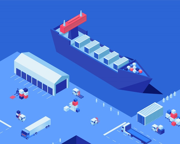 Lege scheepvaart dok isometrische vectorillustratie. magazijnopslag, industriële scheeps- en vrachtvrachtwagens in de haven. merchandise transportbedrijf, maritieme bezorgservice, vrachtdistributie Premium Vector