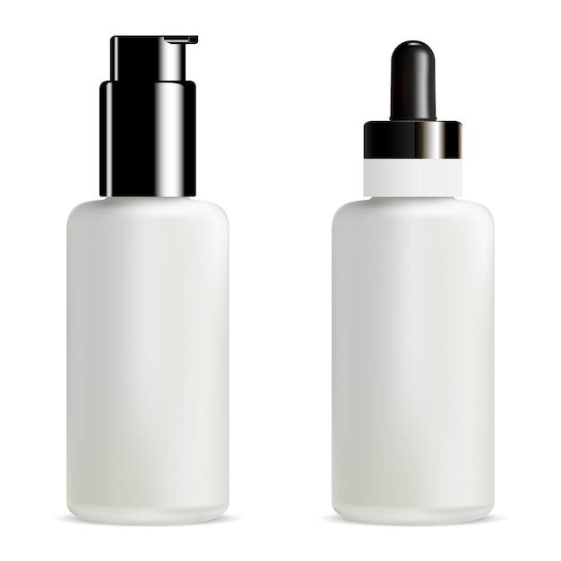 Lege serum en foundation dropper bottle. pomppot. 3d Premium Vector