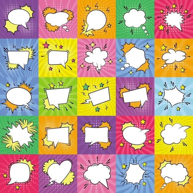 Lege spraak bubbels pictogrammen bundel Premium Vector