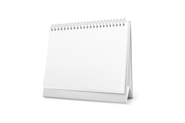 Lege staande bureaukalender met een spiraal. Premium Vector