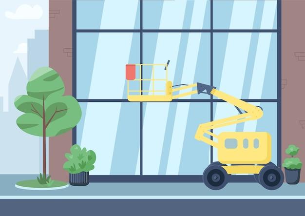 Lege stad straat egale kleur illustratie. 2d cartoon stadsgezicht met gebouw op de achtergrond. commerciële schoonmaakdienst, stadsreinigingsbedrijf. hoge lift voor het wassen van ramen Premium Vector