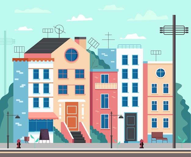 Lege stad straat moderne stijl concept platte cartoon afbeelding Premium Vector