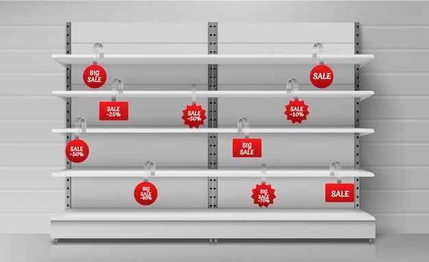 Lege supermarktplanken met rode wobblers Gratis Vector