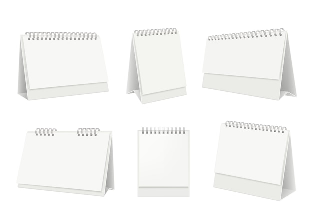 Lege tafelkalender. desktop organizer met realistische witboekpagina's Premium Vector