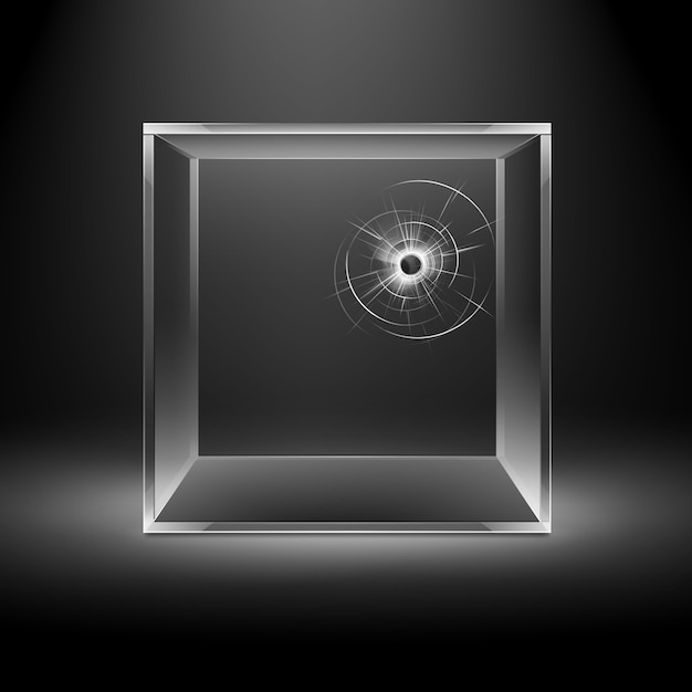 Lege transparante gebroken crack glazen doos kubus geïsoleerd op donkere zwarte achtergrond met achtergrondverlichting Premium Vector