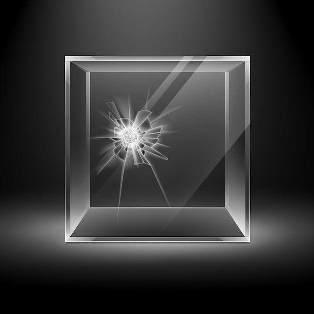 Lege transparante gebroken crack glazen doos kubus op donkere zwarte achtergrond met achtergrondverlichting Premium Vector
