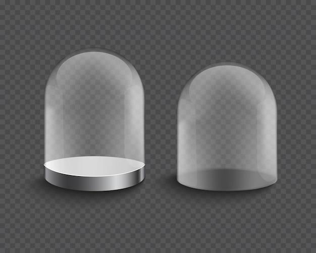 Lege transparante glazen cilinder showcase Premium Vector