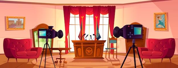 Lege vergaderzaal voor onderhandelingen van de president Gratis Vector