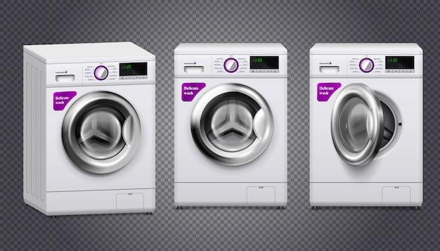 Lege wasmachines in witte en zilveren kleur set geïsoleerd op transparant Gratis Vector