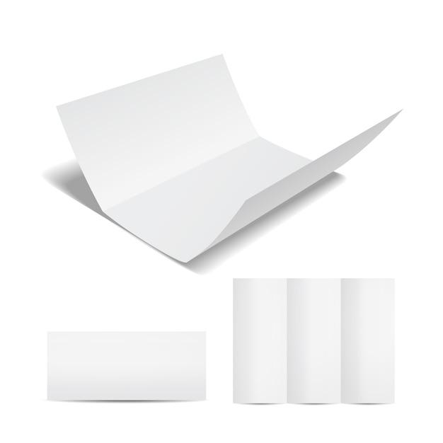 Lege witte brochure of flyer-sjabloon met een driebladige vel papier in het open gesloten en gedeeltelijk open formaat op een wit voor uw marketing en reclame Gratis Vector