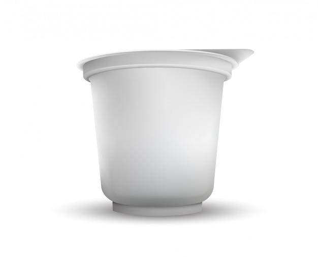 Lege witte folie voedsel verpakking llustration geïsoleerd. Premium Vector