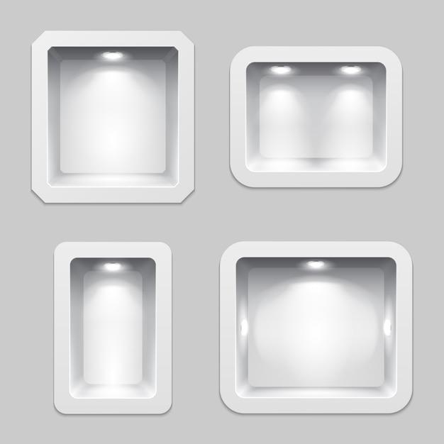 Lege witte plastic vakken of nis display, 3d expositie productschappen met verlichting. Premium Vector