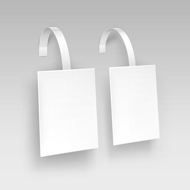 Lege witte vierkante papper kunststof reclame prijs wobbler op achtergrond Premium Vector