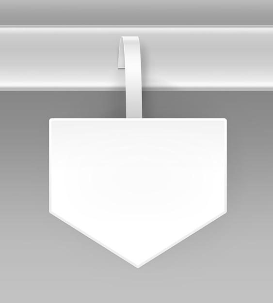 Lege witte vierkante pijl papper plastic reclame prijs wobbler vooraanzicht geïsoleerd op achtergrond Premium Vector