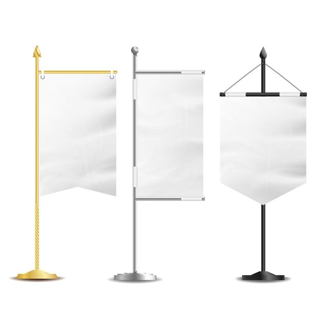 Lege witte vlaggen zak tafel Premium Vector