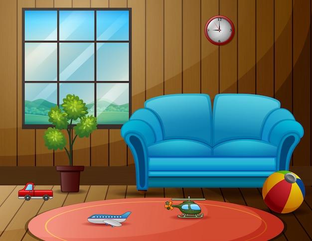 Lege woonkamer met het speelgoed van kinderen op de vloer Premium Vector