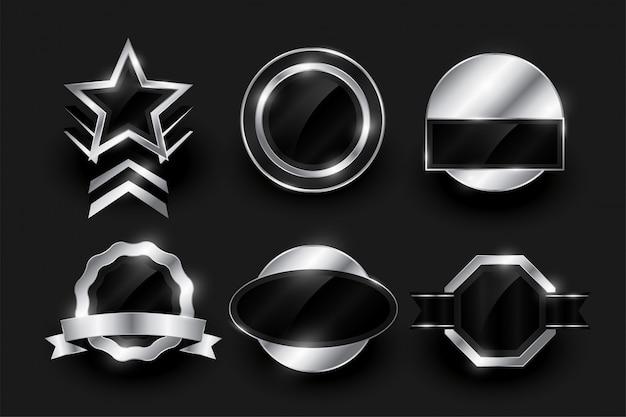 Lege zilveren label en badges collectie Gratis Vector