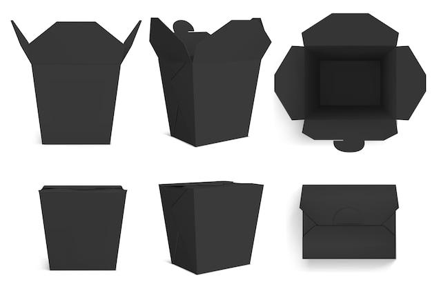 Lege zwarte wokdoos, papieren verpakking voor chinees eten, noedels of rijst met kip. realistisch van gesloten en open afhaaldozen vooraan en bovenaanzicht geïsoleerd op een witte achtergrond Gratis Vector