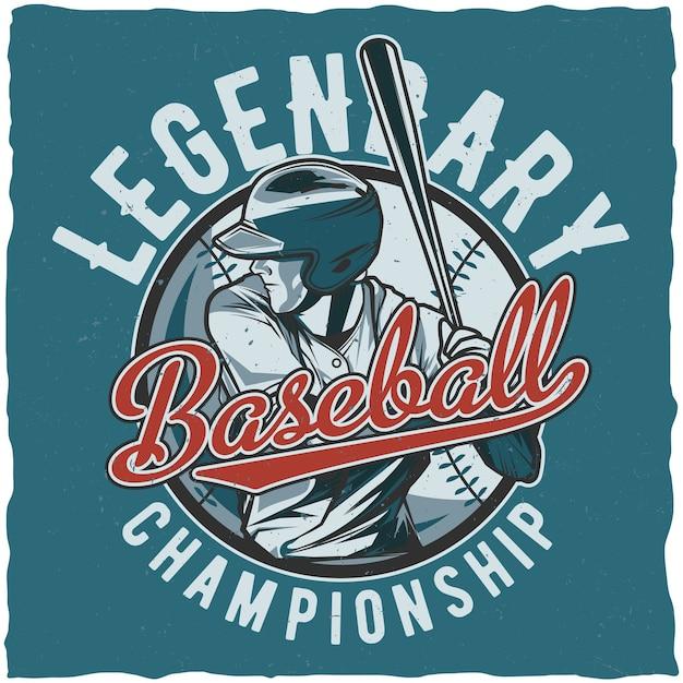Legendarische poster van het honkbalkampioenschap Gratis Vector