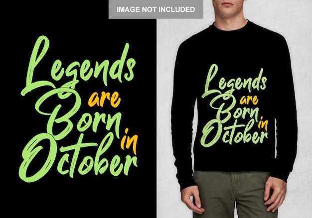 Legenden worden geboren in oktober. typografieontwerp voor t-shirt Premium Vector