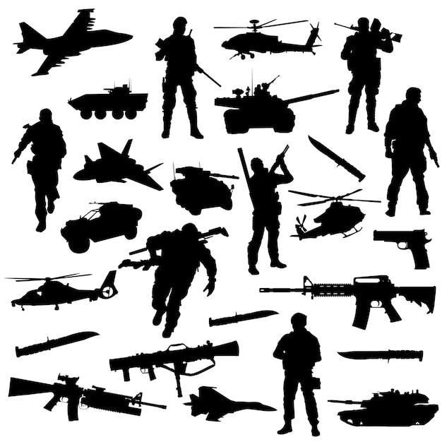Leger oorlog slag clipart symbool silhouet vector Premium Vector