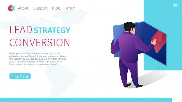 Leiden van strategieconversie horizontale platte banner. Gratis Vector