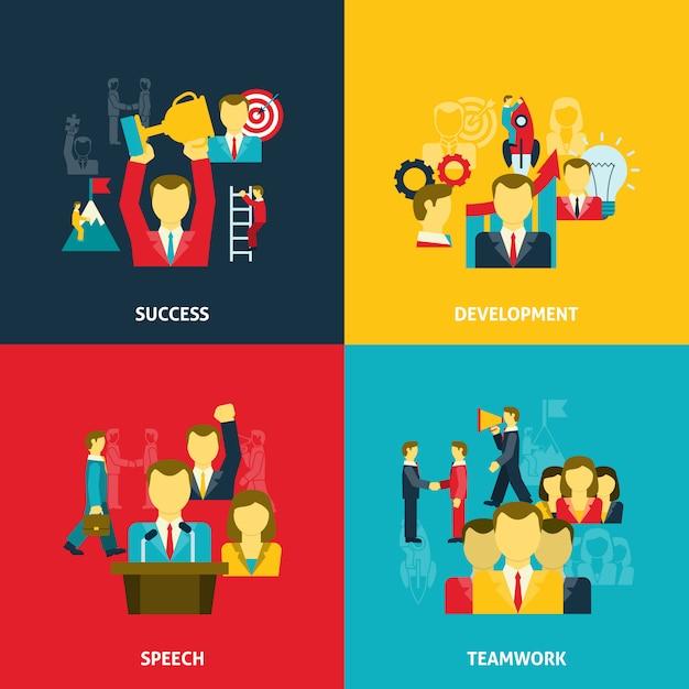 Leiderschap in bedrijfs geplaatste pictogrammen Gratis Vector