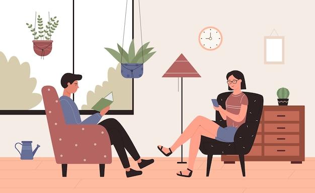 Leisure home activiteit illustratie. gelukkig jong koppel tekens zitten in fauteuils in huis woonkamer interieur, boeken lezen of netwerken, actief gebruik smartphone achtergrond Premium Vector