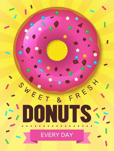 Lekker eten poster. donuts aanplakbiljet ontwerp met ontbijt gekleurde voedsel bakkerijproducten desserts sjabloon. Premium Vector