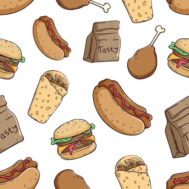 Lekker fastfood naadloze patroon met gekleurde doodle stijl Premium Vector
