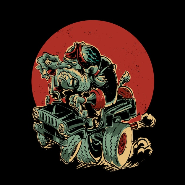 Lelijke oude man rit jeep Premium Vector