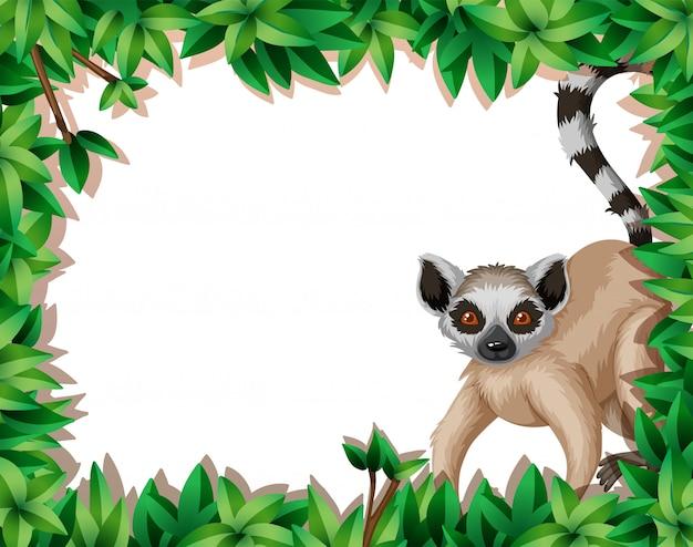 Lemur in aardkader Gratis Vector