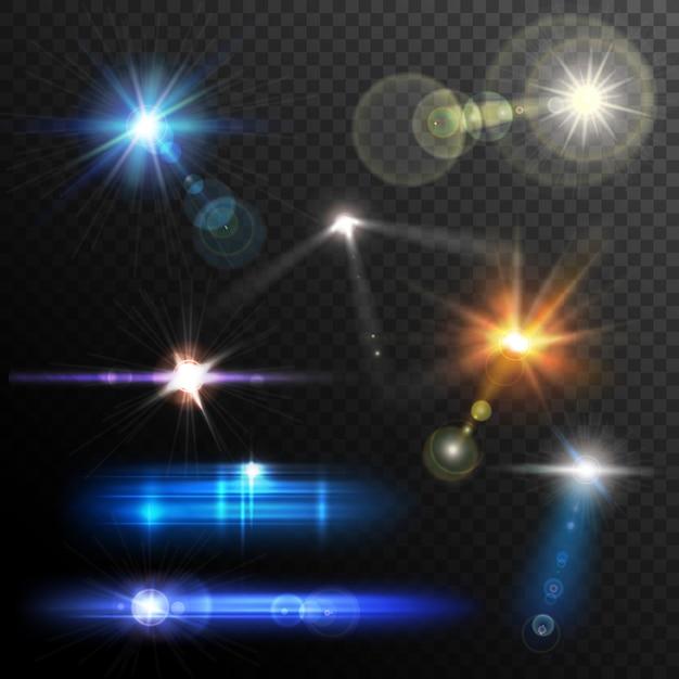Lens flares set Gratis Vector