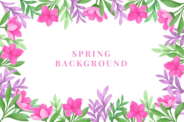 Lente achtergrond met aquarel bloemen Gratis Vector