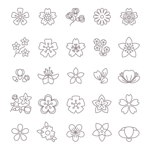 Lente bloem dunne lijn vector pictogrammen instellen Premium Vector