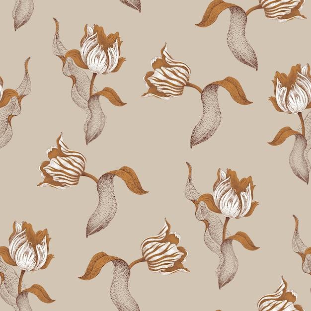 Lente bloem tulp. naadloze bloemmotief. tuin bolvormige tulpenbloem. gouden takken, bladeren, bloemen op grijze achtergrond. Premium Vector