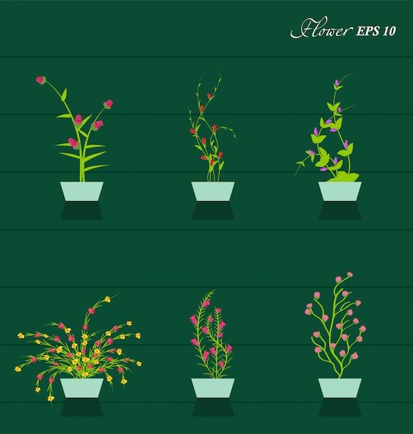 Lente bloemen achtergrond Premium Vector
