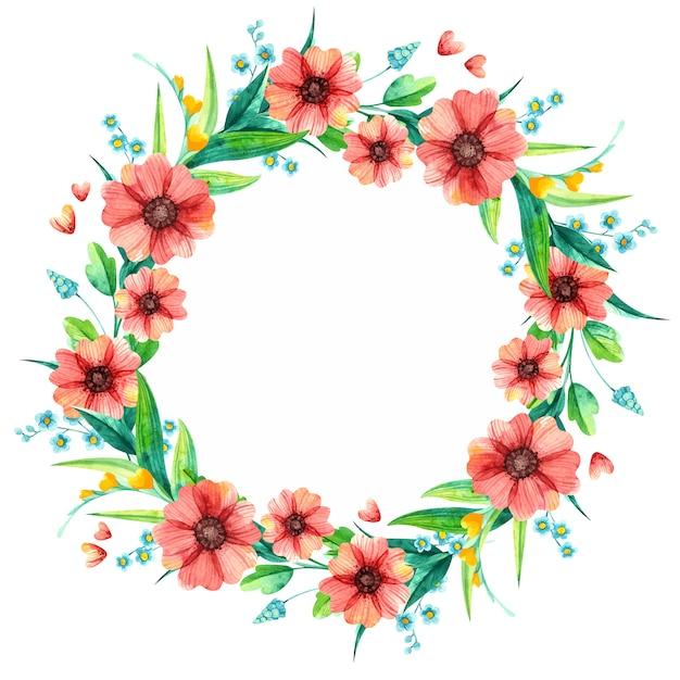 Lente bloemen aquarel decoratieve ronde frame. helder blad met rode en gele bloemen. Gratis Vector