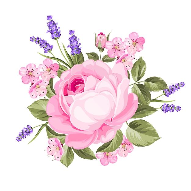 Lente bloemen boeket. Premium Vector