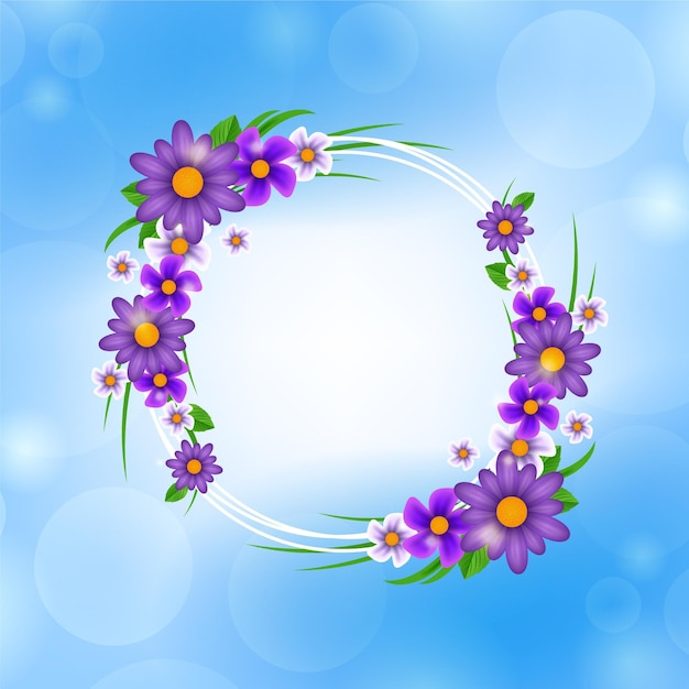 Lente bloemen frame Premium Vector