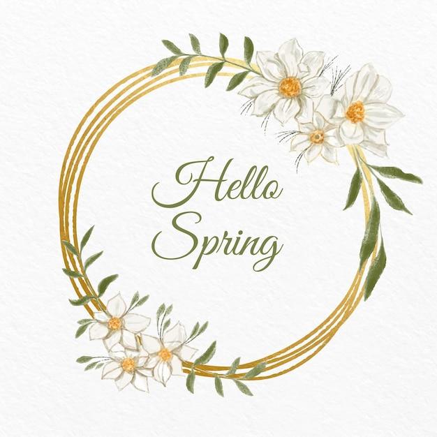 Lente bloemen frame Gratis Vector