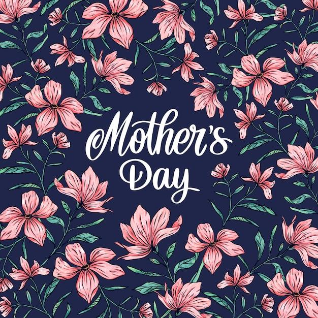 Lente bloemen moederdag Gratis Vector
