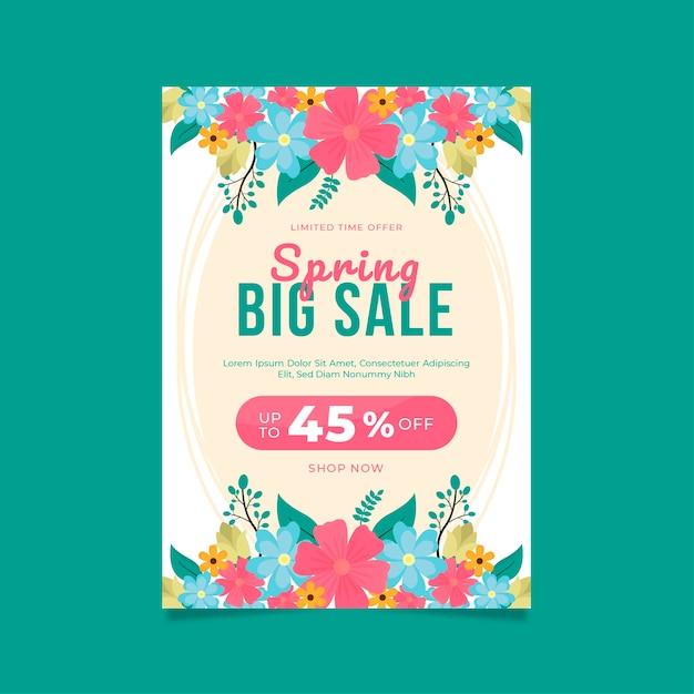 Lente bloemen verkoop folder platte ontwerpsjabloon Gratis Vector