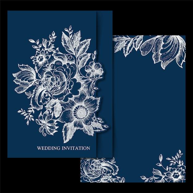 Lente bloemen vintage bruiloft uitnodigingsrand Premium Vector