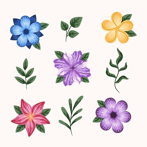 Lente bloemencollectie Gratis Vector