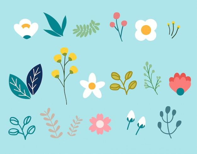 Lente bloemenpakket set Premium Vector