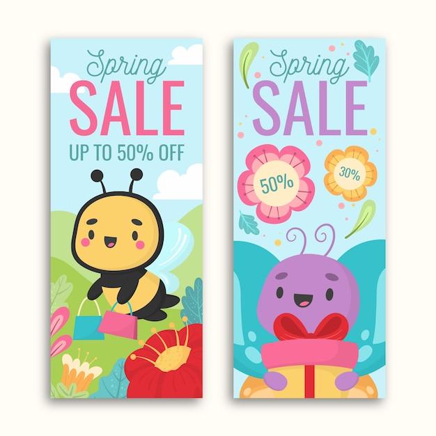 Lente hand getrokken banners met insecten en geschenken Gratis Vector