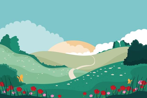 Lente landschap concept Gratis Vector