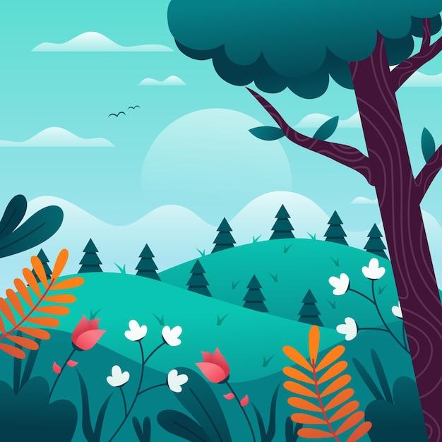 Lente landschap met bloemen en bomen Gratis Vector